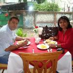 enjoying the breakfast ..with my husband ..monty