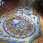 detail of hand-painted ceramic floors