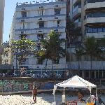 Hotel cafe seen from Ipanema beach. At the tent you rent beach chairs, umbrellas, get a drink.