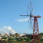 Mylos Bar windmill and sea front, Anissaras