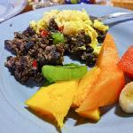 Gallo Pinto with eggs and other goodies