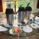 Coffee and tea each morning in Chumley House