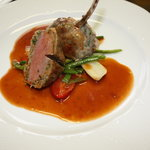 Lamb chop with ground lamb  in red wine sauce