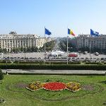 Bucharest: View from the Palace of Parliament balcony to Uniry Boulevard