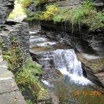 A waterfall in the creek that runs through the Rober H. Treeman state park