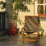 Front porch of the Nepal B&B.  Mid June just before sunset.