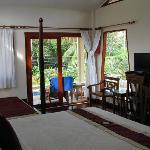 Interior of bungalow.