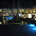 View of resort at night