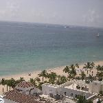 View from balcony to beach across the street