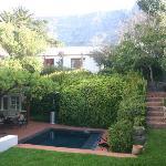 Gartenblick mit kleinem Pool