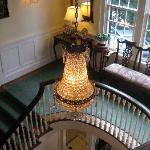 Chandelier, bannister, seen from second floor