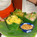 Thai food served in coconut