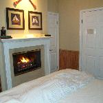 Fireplace & king sized bed.