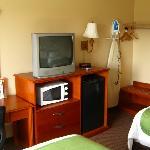 TV, fridge, microwave