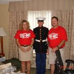Bringing our Marine home.  Hilton was the first comfortable bed he slept in!