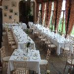 The Orangery, set up for the Wedding Breakfast