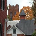 Church/Cityscape over the roof of the Carriage House