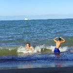 The boys enjoying the sea
