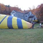 Getting the balloon ready in front of the Inn at Sugar Hollow