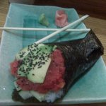 My absolute favorite..spicy tuna hand roll.Careful of that spice!This one was made by Day, (the