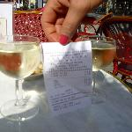 the glass of wine same size as receipt ! so tiny