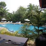View of top restaurant and pool