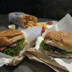 burger, chicken sandwich, and fries...mmm