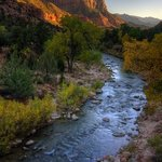 Sunset at Zion NP, overlooking the Virgin River