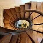 Spiral staircase leading to guest bedrooms
