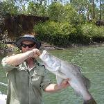 my third barramundi was the largest for the week at Clearwater island fishing lodge