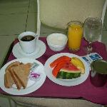 the free breakfast they offer which they will bring to your room if you want