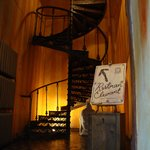 The spiral staircase up to the restaurant