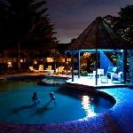 Thermally heated outdoor pool at night