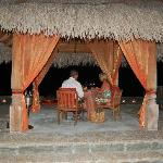 Dining on the private wedding pavillion