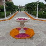 Marigolds and rose petals lined the pathways