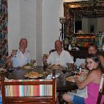 Enjoying a fine meal at our villa