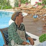 Zeynep poolside