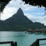 View of Bora Bora from our overwater bungalow, Tahiti