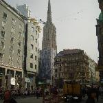 View of the Stephansdom Cathedral from Goldschmiedg Street.