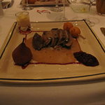 Fawn steak with candied chicory, creamy goose liver sauce & cranberries, an almond croquette