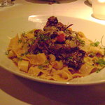 Entree: Braised Superior Farms Lamb Shank Meat and Pappardelle Pasta - Sea bass, Salmon, Clams,
