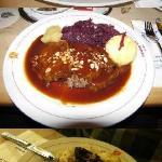 Lunch: Sauerbraten, liver meatballs, blood wurst