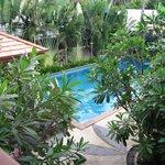 Blick vom Balkon auf den Pool
