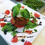 tomato basil motzerella and basalmic reduction