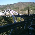 桜見物で混雑した橋
