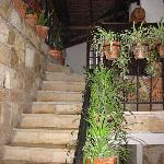 stairs upstairs to the breakfast area