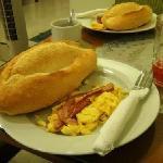 breakfast @ hotel - bacon & scrambled eggs
