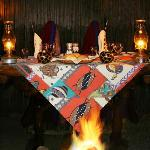 Dinners are served in the Boma, around a blazing campfire