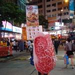 Met a giant meat on the road, Causeway Bay.