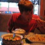 Judd grubbin' on his deLISH food @ Thai Orchid in the gas light district downtown Petoskey (LOOO
